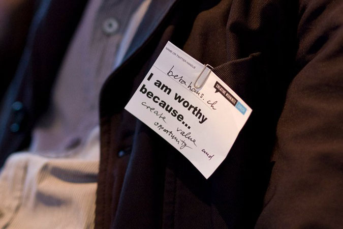 Photo of nametag: I am worthy because... I create value and opportunity